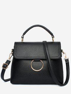 Stitching Ring Faux Leather Handbag - Black