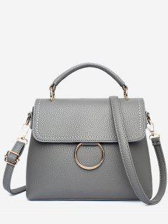 Stitching Ring Faux Leather Handbag - Dark Gray