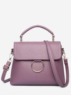 Stitching Ring Faux Leather Handbag - Purple