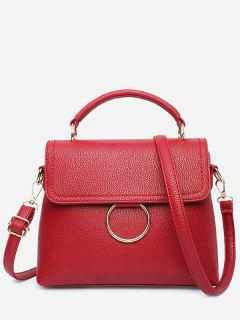 Stitching Ring Faux Leather Handbag - Wine Red