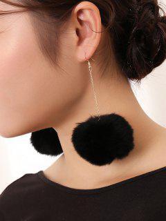 Pompon Embellished Drop Earrings - Black