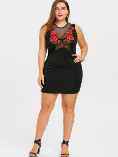 Plus Size Fishnet Insert Embroidery Mini Dress - Black 5xl