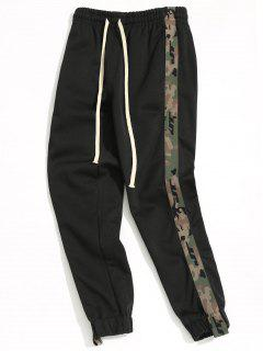 Drawstring Camo Jogger Pants - Black M