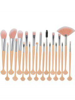 20Pcs Shell Shape Fiber Hair Makeup Brush Set - Pink+ White