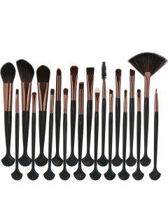 20Pcs Shell Shape Fiber Hair Makeup Brush Set - Black And Golden