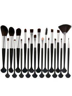 20 Pièces Ensemble De Pinceaux à Maquillage En Fibre En Forme De Coquillage - Blanc + Noir + Argent