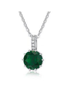 Faux Diamond Decorated Pendant Necklace - Green