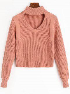 Keyhole Neck Crop Sweater - Nude Pink