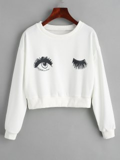 Cropped Eyes Graphic Sweatshirt - White L