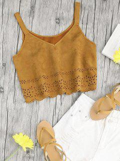 Cropped Laser Cut Faux Suede Tank Top - Light Brown L