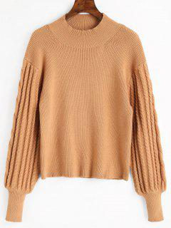 High Neck Lantern Sleeve Sweater - Khaki L