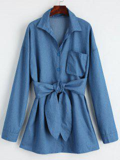 Button Down Belted Shirt Mini Dress - Denim Blue M