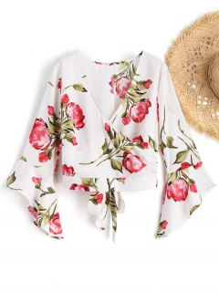 Bell Sleeve Floral Surplice Top - White L