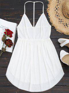 Backless Cami Mini Dress - White L