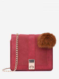 Twist Lock Pompom Chain Crossbody Bag - Red