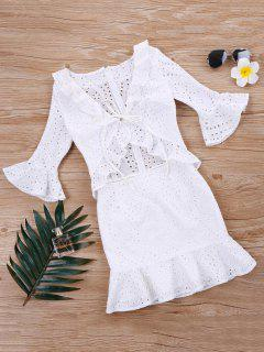 Flounce Ruffle Eyelet Dress - White Xl