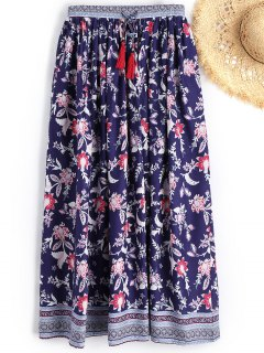 Drawstring Floral Beach Long Skirt - Floral M