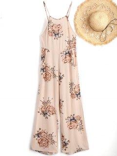 Cami Floral Beach Jumpsuit - Apricot L