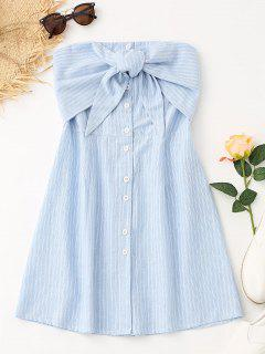 Bowknot Stripes Tube Mini Dress - Light Blue M