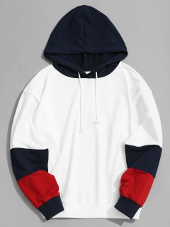 Color Block Hoodie Men Clothes - White L