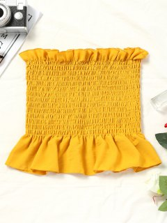 Flounces Smocked Tube Tank Top - Yellow S