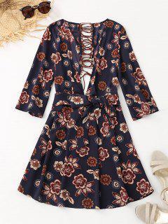 Floral Cut Out Lace Up Flare Dress - Purplish Blue M