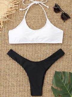 Halter Zweifarbiger Thong Bikini Set - Weiß S