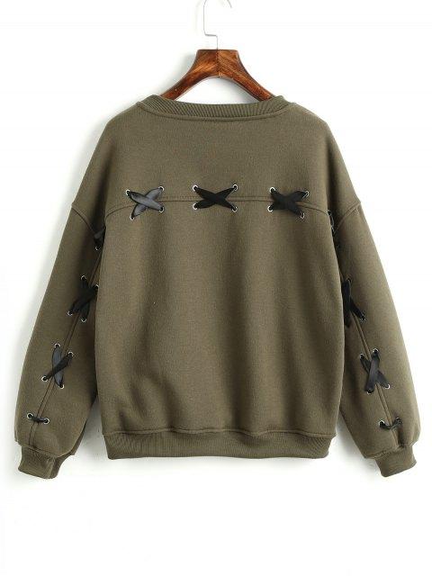 shops Criss Cross Ribbons Sweatshirt - ARMY GREEN S Mobile
