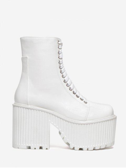 buy Lace Up Platform Short Boots - WHITE 36 Mobile