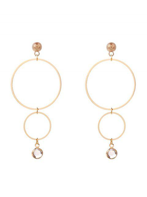 chic Faux Crystal Geometric Circle Drop Earrings - GOLDEN  Mobile