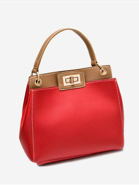 women Twist Lock Color Block PU Leather Handbag - RED  Mobile