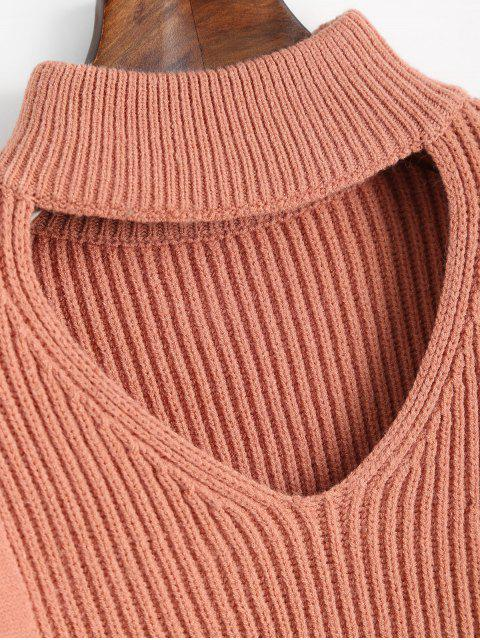 shop Keyhole Neck Crop Sweater - NUDE PINK ONE SIZE Mobile