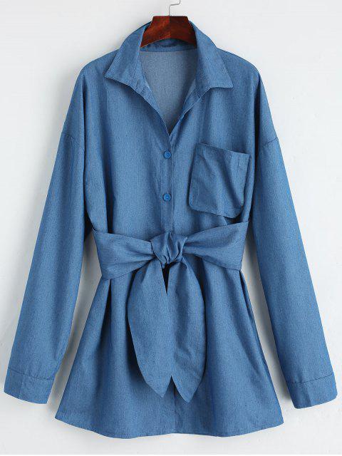 Knopf Niedriges Gürtel Mini Hemdkleid - Denim Blau S Mobile