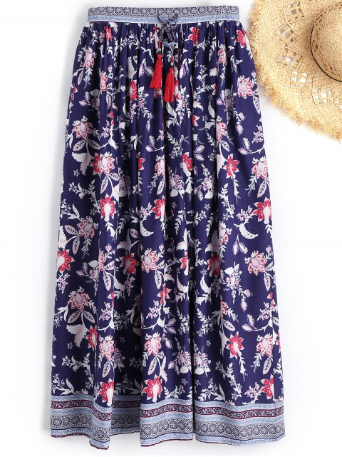 Drawstring Floral Beach Maxi Skirt - Floral L Mobile