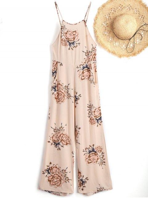 shop Cami Floral Beach Jumpsuit - APRICOT L Mobile