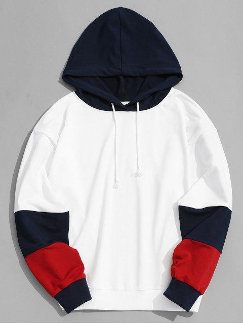 Farbblock Hoodie Männer Kleidung - Weiß S Mobile