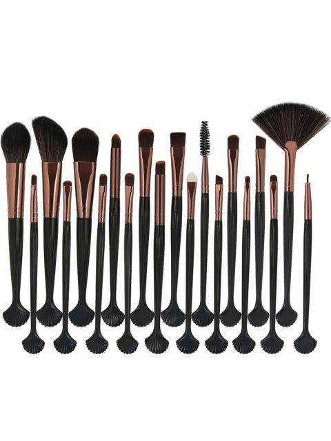 20pcs Shell Form Faser Haar Make-up Pinsel Set - schwarz golden   Mobile
