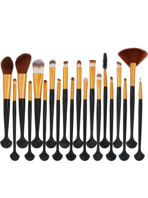 womens 20Pcs Shell Shape Fiber Hair Makeup Brush Set - BLACK+GOLDEN  Mobile