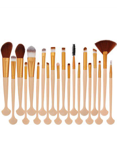 affordable 20Pcs Shell Shape Fiber Hair Makeup Brush Set - GOLD AND PINK  Mobile