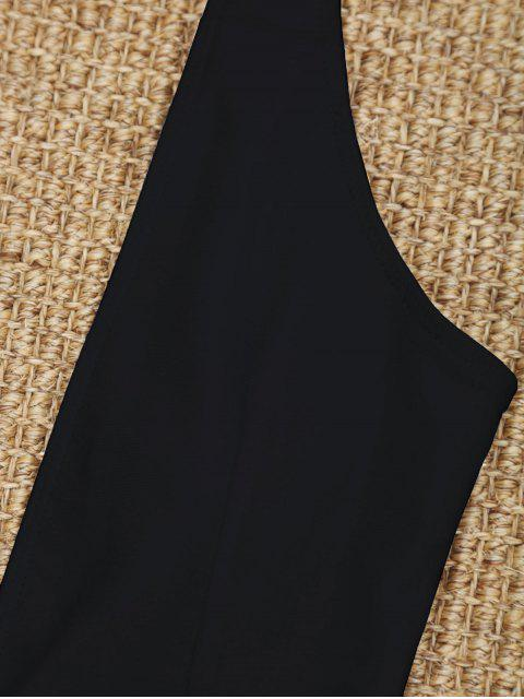 new High Cut Plunge Neck Swimsuit - BLACK M Mobile