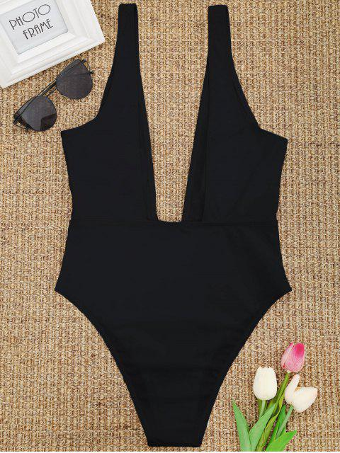 chic High Cut Plunge Neck Swimsuit - BLACK S Mobile