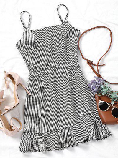 Plaid Ruffles Back Zip Mini Dress