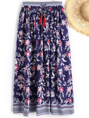 Drawstring Floral Beach Maxi Skirt