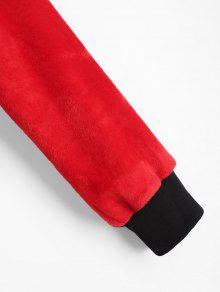 Terciopelo Negro M Contraste Sudadera De Con En Cuello Rojo Con Redondo P515qRw