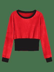 Terciopelo Redondo Sudadera De M Con Rojo Contraste Negro Con En Cuello Pww5xqCT