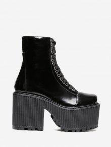 الدانتيل يصل منصة قصيرة الأحذية - أسود 39