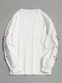 Drop Shoulder Pocket Eisenring Sweatshirt - Weiß M