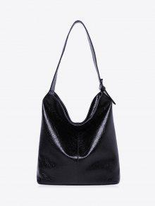 حقيبة كتف فو جلدية الكتف - أسود