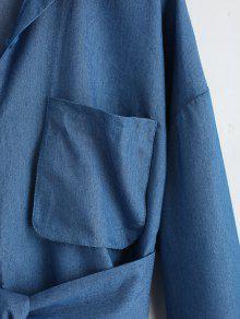 Con S Abotonada Camisa Camisa Denim 243;n Minivestido Azul Cintur Con zd7dfwqH