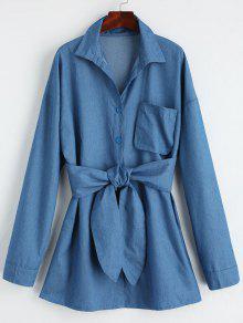 فستان مصغر شيرت مربوط زر - ازرق M